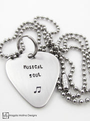 "The ""MUSICAL SOUL"" Hand Stamped Omnisex Guitar Pick Necklace"