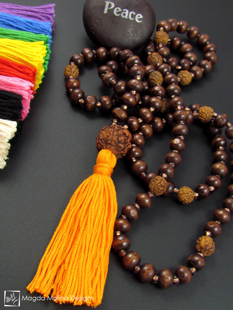 The Wood And Rudraksha MALA Necklace With Colorful (options) Cotton Tassel