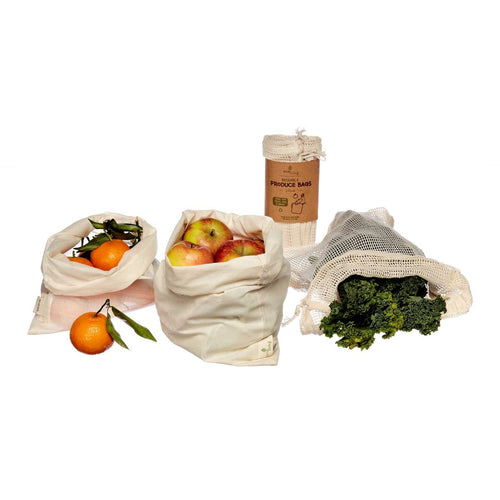 Organic Produce Bags & Bread Bag - 3 Pack - Tecorra