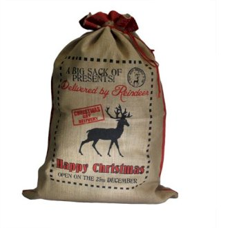 Jute Present Sack - Delivered By Reindeer - Tecorra