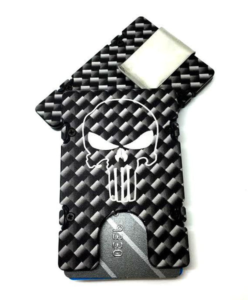Carbon Fiber Pattern with Punisher EDC Wallet