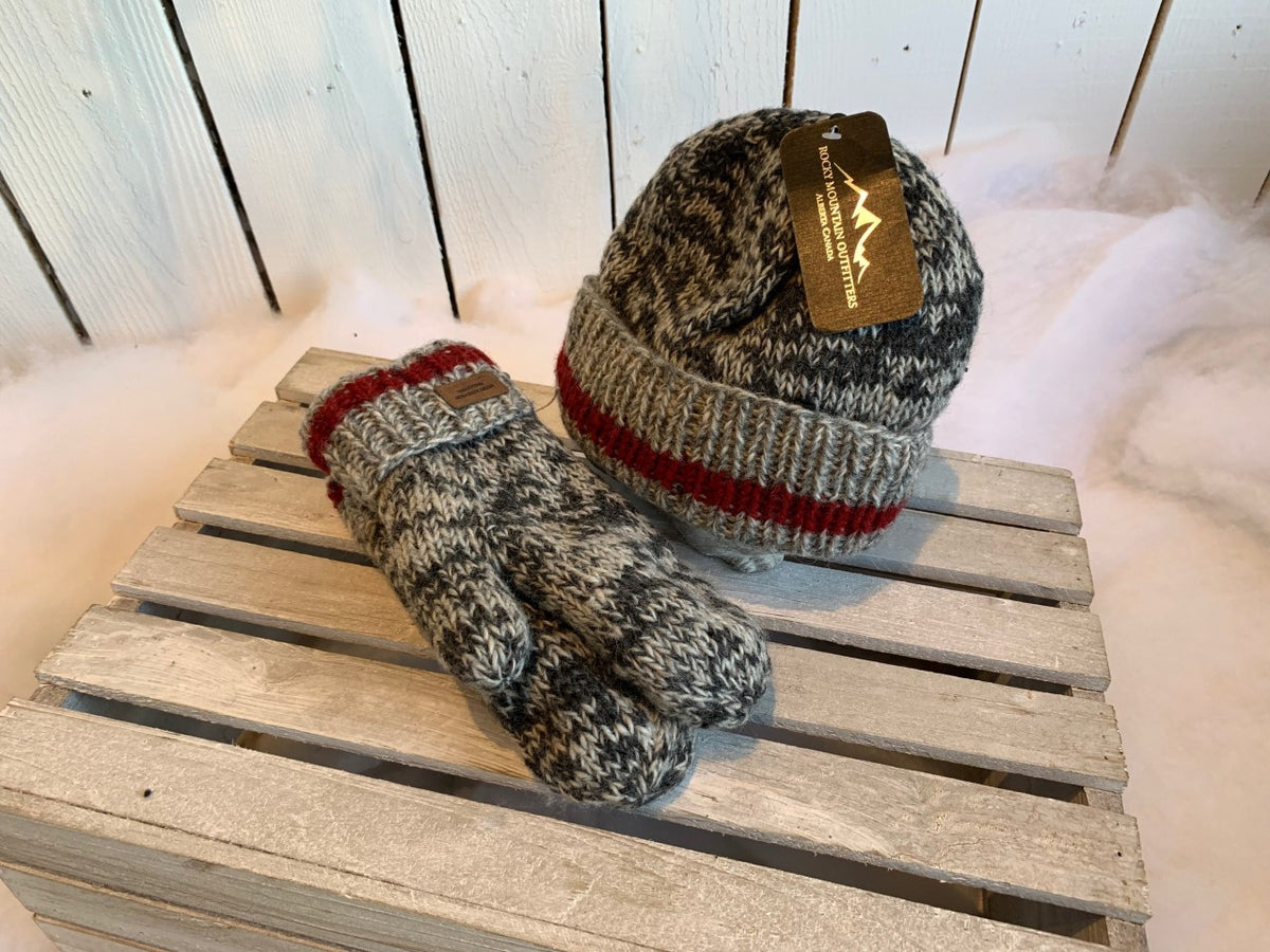 Grey & Red Wool Toque