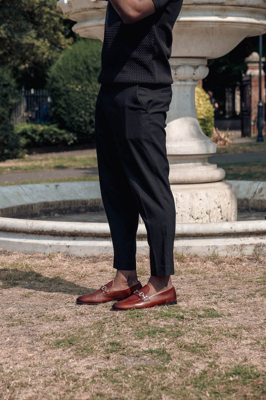 WALK London Terry Trim Loafer in Brown Leather