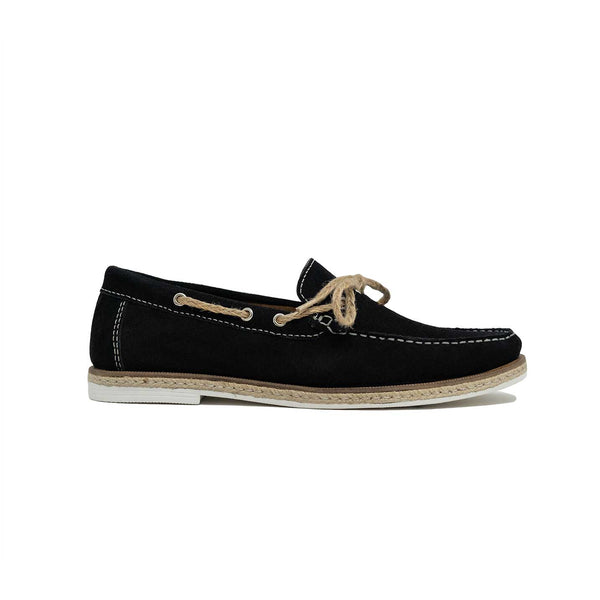 Walk London Bahama Lace Loafer in Black Suede