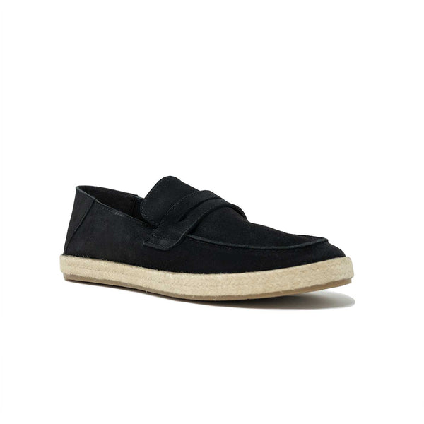 WALK London Cannes Saddle Espadrille Black Suede