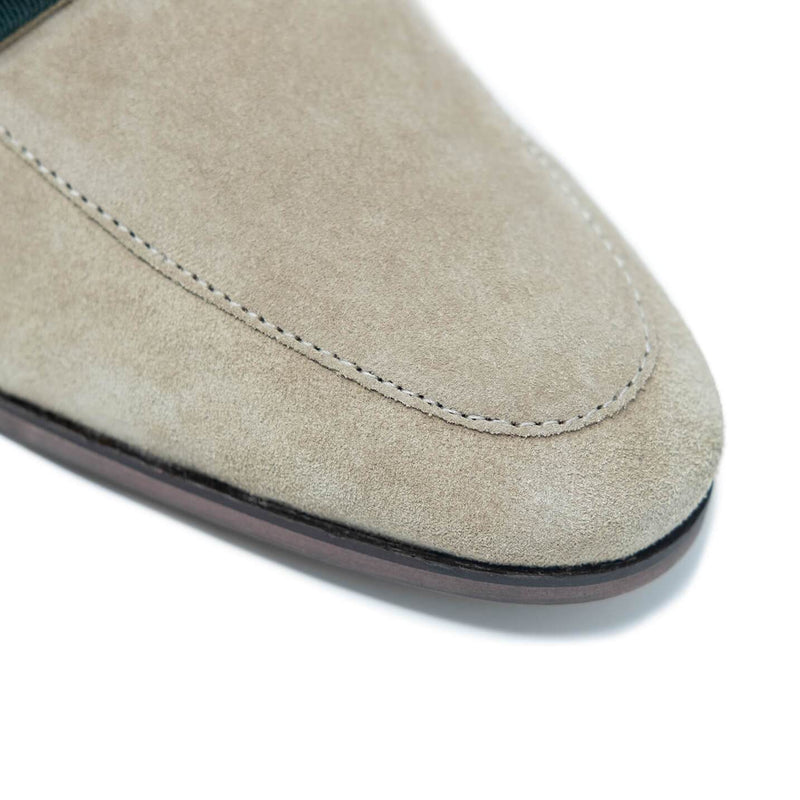 Stone Suede Loafers