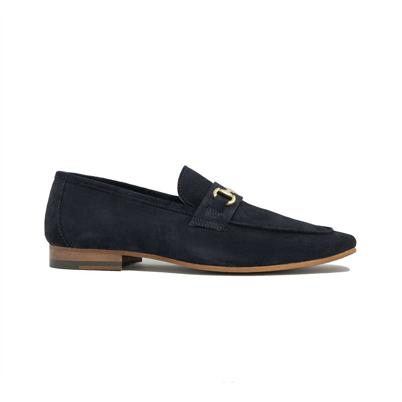 Walk London Navy Suede Vespa Trim Loafer in Navy Suede