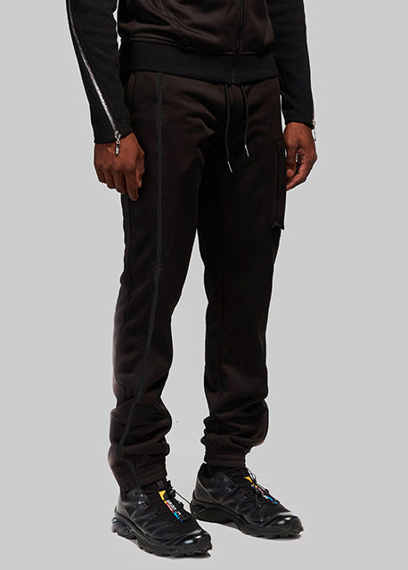 Black Embroidered Joggers