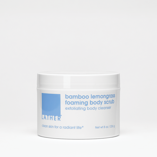 bamboo lemongrass foaming body scrub 8 ounce product jar