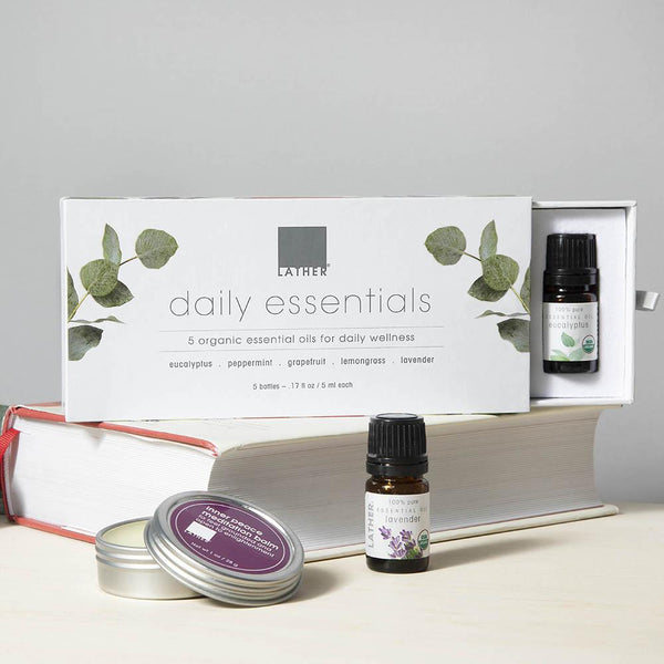 Daily essential oils product shot with inner peace meditation balm