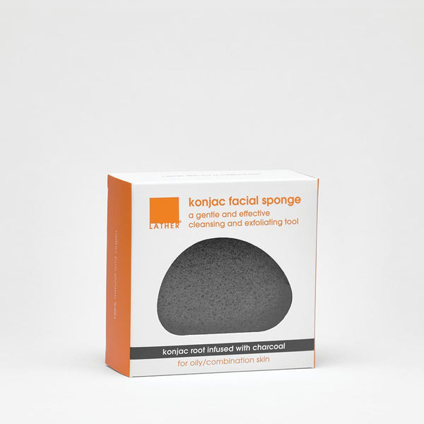 Charcoal Konjac Facial Sponge in box