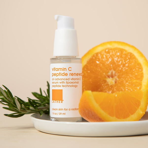 vitamin c peptide renewal serum lifestyle image with ingredients