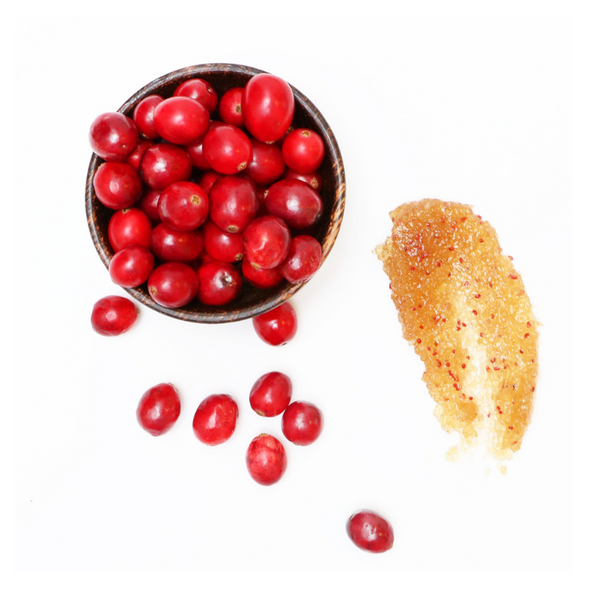 cranberry sugar scrub texture with ingredient image