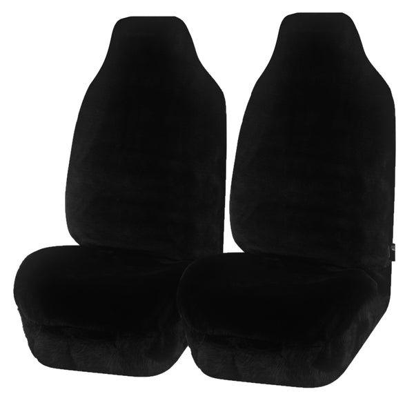 Universal Finesse Faux Fur Front Seat Covers Size 60/25 - Black