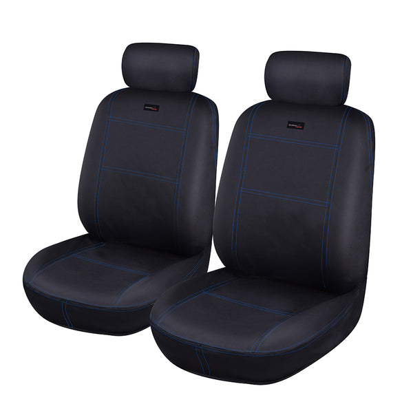 Universal Car Seat Covers Set Neoprene WATERPROOF Full Seat Airbag Black-Blue Stitching