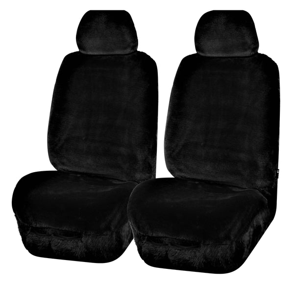 Universal Finesse Faux Fur Front Seat Covers Size 30/35 - Black