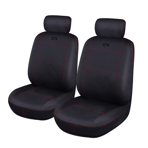 Universal Car Seat Covers Set Neoprene WATERPROOF Full Seat Airbag Black-Red Stitching
