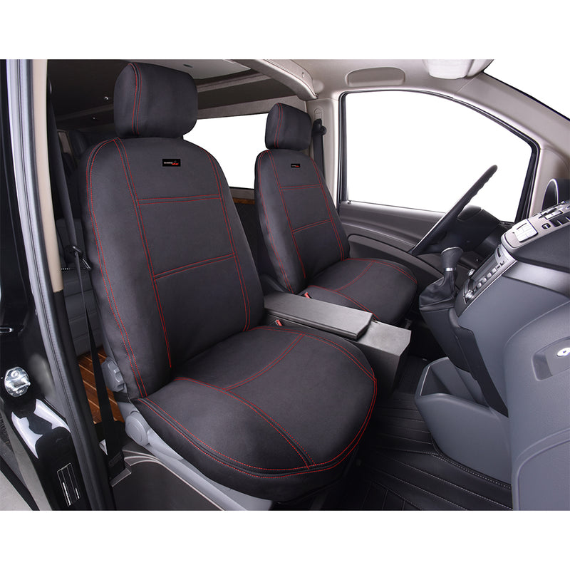 Universal Neoprene Front Seat Covers | Black/Red Stitching