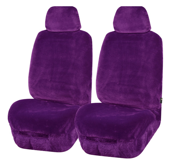 Universal Finesse Faux Fur Front Seat Covers Size 30/35 - Purple