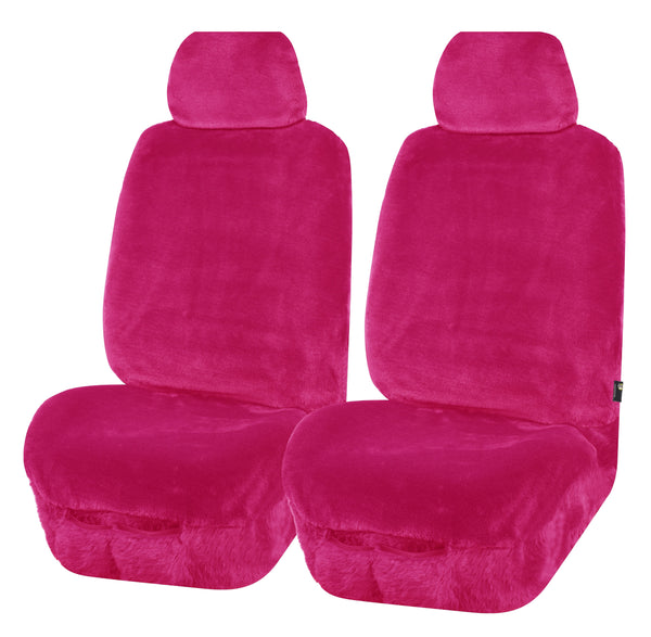 Universal Finesse Faux Fur Front Seat Covers Size 30/35 - Pink