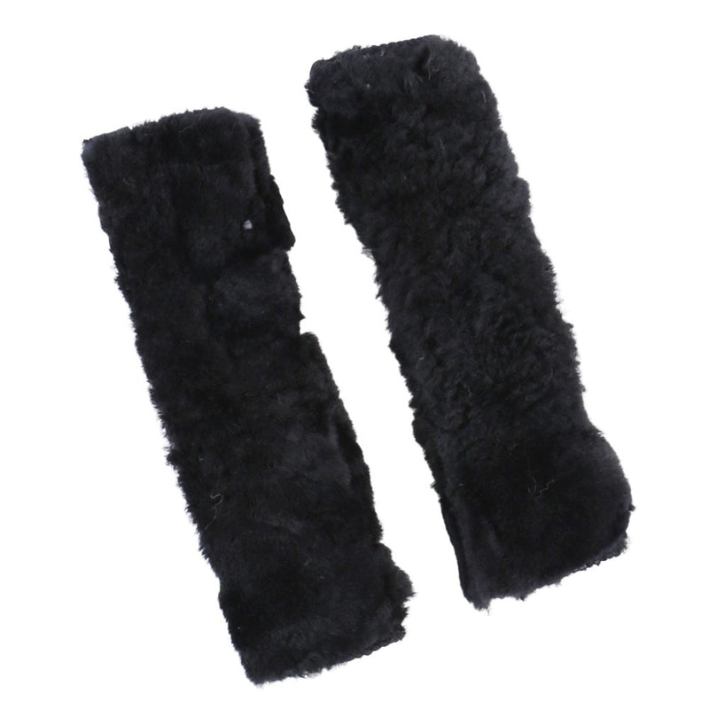 Sheepskin Steering Wheel Cover & Seat Belt Pads Combo Luxury - Black