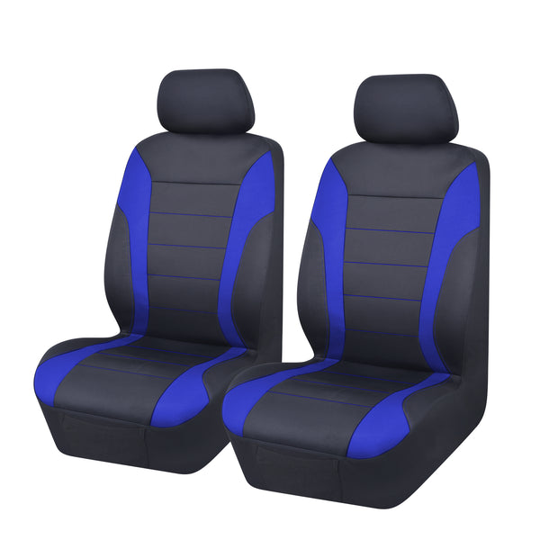 Universal Ultra Light Neoprene Front Seat Covers Size 30/35 - Black / Blue