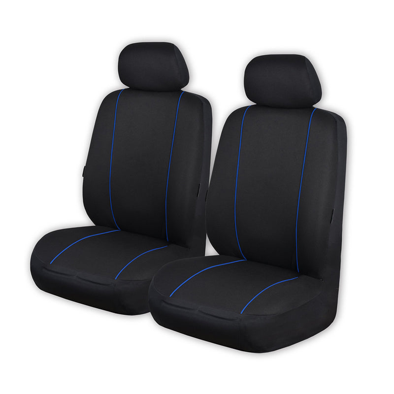 Universal Pinnacle Front Seat Covers Size 30/35 - Black/Blue Piping