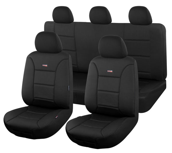 Tailor Made Sharkskin Ultimate Neoprene Seat Covers for TOYOTA LANDCRUISER 200 SERIES 11/2007-ON 4X4 SUV/WAGON 8 SEATER BLACK