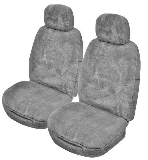 Universal Softfleece 20mm Thick Pile Sheepskin Front Seat Covers Size 30/35 - Silver Grey