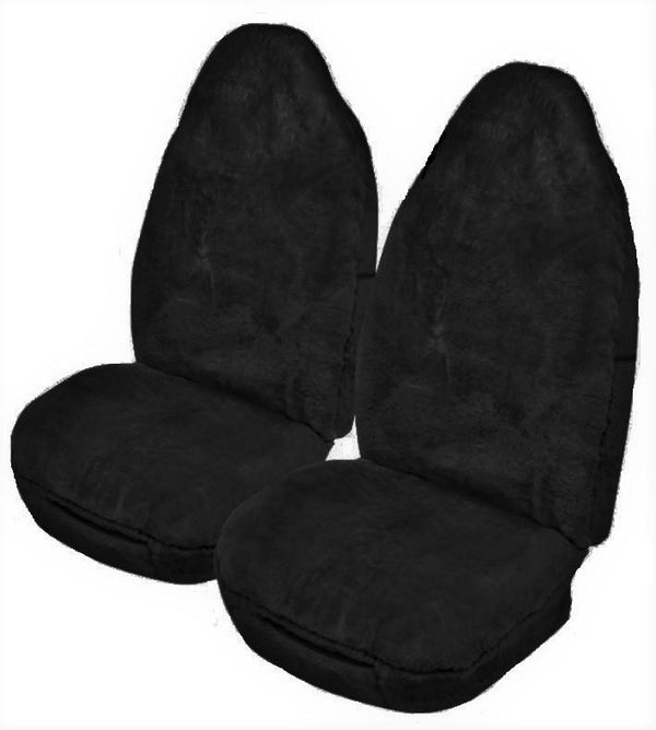 Universal Softfleece 20mm Thick Pile Sheepskin Front Seat Covers Size 60/25 - Black