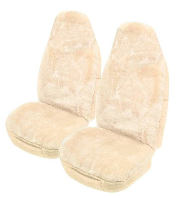 Universal Softfleece 20mm Thick Pile Sheepskin Front Seat Covers Size 60/25 - Ivory