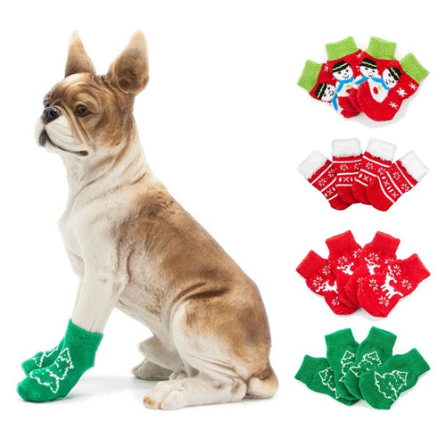 Christmas Dog Socks with Snowflake Design and Non-Slip Paw Pads Dog Clothes