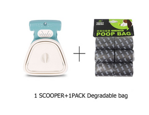 Dog Pet Travel Foldable Pooper Scooper with 1 Roll Decomposable Bags Poop Scoop Clean Pick Up