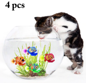 (4) Electronic Fish Cat Toys Mini Electronic Water Activated LED Fish Electric Flash Induction Simulation Fish Cat Toy
