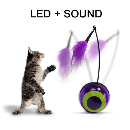 Electronic Motion Cat Toy Interactive Cat Toy  Multi Function Automatic  Cat Toy Ball Tumbler with Chaser Light Sound For Kitty