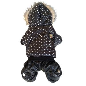 High Quality Dot Pattern Hooded Pet Dogs Winter Coat  Thickness Dogs Clothes S to Xl New Dogs Clothing