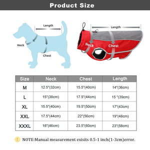 Warm Dog Clothes Pet Jacket Waterproof Winter Pet Clothes for Large Dogs Reflective Pet Clothing Coat for French Bulldog