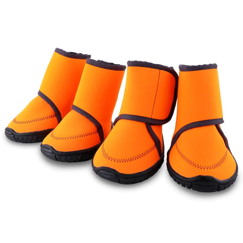 Pet Dog Winter Warm Snow Booties Waterproof Anti-Slip Protective Shoes Boot Orange Rubber Rain Shoes For Small Dogs Pet Products