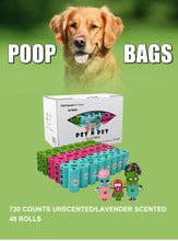 Load image into Gallery viewer, Biodegradable Dog Poop Bags Earth-Friendly 48 Rolls 720 Counts Multiple Colors Blue Green Pink Lavender Scented Garbage Bag