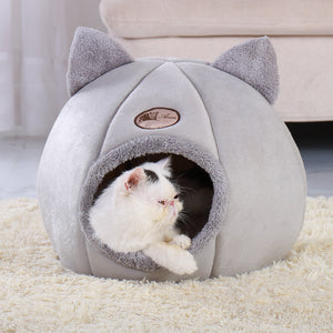 Removable Cat Bed Warm Pet Cat House Cave Winter Puppy Kitten Dog Cushion Mat Small Dogs Cats House Kennel Indoor