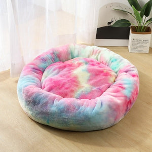 Fleece Cat Beds Round Pet Bed For Cats Dog Plush Bed House For Cat Kitten Marshmallow Cat Bed Mat Cushion Kennel Pet Supplies