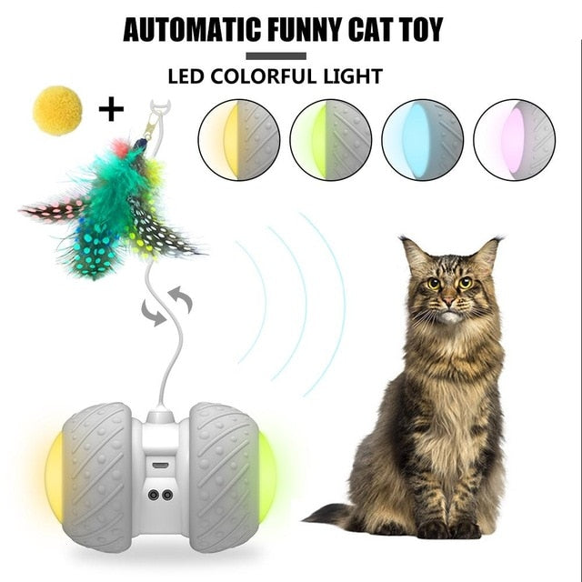 Smart Ball Pet Electronic Cat Toys Two-wheel Drive USB LED Flash Rolling Colorful Light Electric Cat Stick Automatic Pet Dog Toy