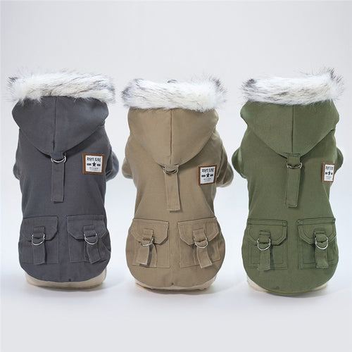 Winter Dog Jacket with Faux Fur Lined Hoodie Dog Clothes Dog Coat for Small Dogs Hooded Jacket