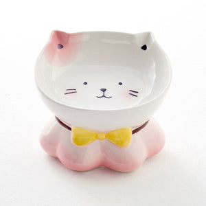 Cat Ceramics Bowl Classical Cervical Health Protective Bowl High Base Water Food Feeder for Puppy Kitten Pet Feeding
