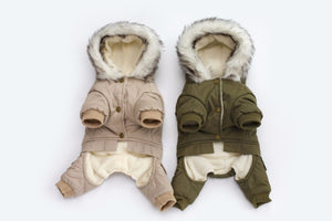 Hooded Driver Style Dog Jacket with Full Legs Cotton Winter Coat  Warm Dog's Coat