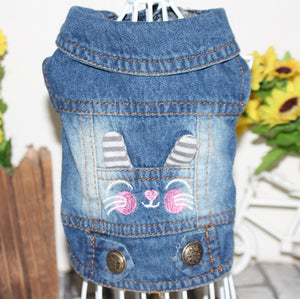 Cowboy Dog Vest Denim Dog Clothes Jacket Clothing for Dogs Casual Jeans for Dachshund Bichon Shih Tzu Pitbull