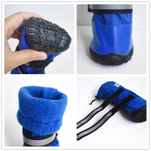Load image into Gallery viewer, Durable Waterproof Medium to Big Dog Boots Winter Comfortable Adjustable Reflective Nonslip Rubber Sole