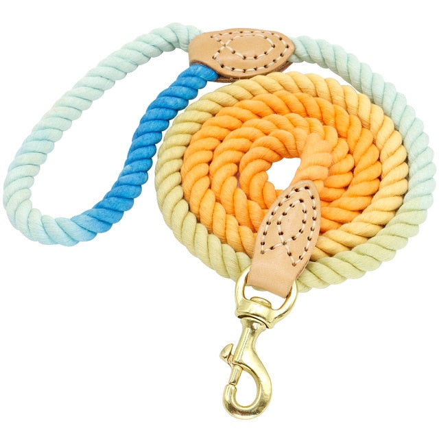 5 Ft. Dog Leash Round Cotton Dogs Lead Rope Colorful Pet Long Leashes Belt Outdoor Dog Walking Training Leads Ropes