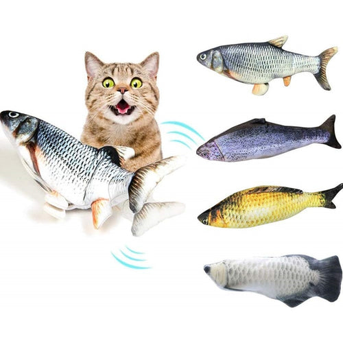 Moving Fish Cat Toys Catnip Realistic Plush Fish Stuffed Pillow Cat Chew Toy Kitten Fish Flop Cat Wagging Fish Toy Catnip