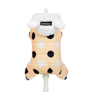 Winter Dog Clothes Hoodie Coat Big Polka Dot Cotton Coat Thicken Winter Warm Clothes for Small Dogs